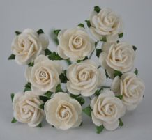 1.5cm OFF WHITE Mulberry Paper Roses